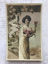 Beautiful Lady Glamour French Fashion Original Vintage Postcard