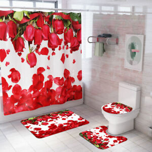 Rose Bathroom Rug Set Shower Curtain Bath mat Skidproof Toilet Seat Lid Cover