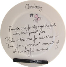 Personalised Christening Gift Signature Plate (Rd) (Pink)