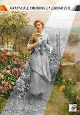 "Coloring Calendar 2018 (12 pages 8""x11"") Rural Garden Girl Vintage FLONZ 1006"