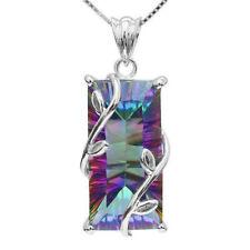 925 Silver Fashion Mystic Rainbow Topaz Pendant Chain Chocker Necklace Party One