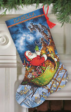 Cross Stitch Kit ~ Gold Collection Santa's Flight Christmas Stocking #70-08923