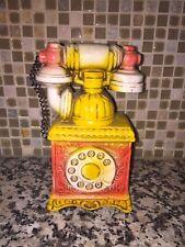 Vintage Chalkware Penny Bank Telephone Phone Carnival Prize Rare