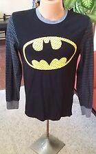 NEW DC Comics Batman Black Long sleeve Men's Shirt Size M Cotton and Spandex