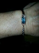 Bracelet 9K Rose Gold Filled Cubic Zirconium & Blue Crystal w/Chain section/bar