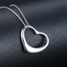 Silver Love Heart Necklace Chain & Pendant (Silver) Womens Jewellery