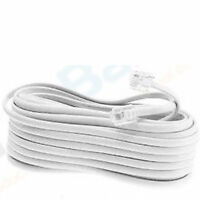 NEW 50 FT FOOT TELEPHONE PHONE EXTENSION CORD CABLE LINE WIRE WHITE RJ11 MODULAR