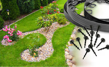 New flexible black edging border.10meters for paths,lawn+very strong 30pegs