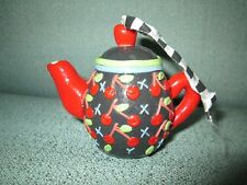 "Vintage 3"" Handmade Teapot Christmas Ornament Cherries Me Mary Engelbreit Black"