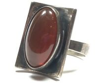 Vintage Ladies Sterling Silver Carnelian Ring - Signed FROM -Size 7.25