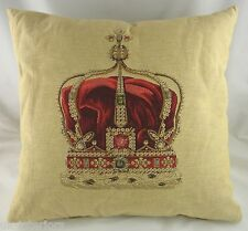 "18"" QUEEN CROWN Belgian Tapestry Cushion 45cm Cotton Cream Evans Lichfield LC281"