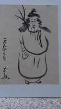 ANTIQUE EARLY 20 C CHINESE INK ON PAPER PAINTING OF MAN WITH ARTIST,S  SEAL