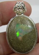 Ethiopia Natural Rough Fire Opal in Matrix Cabochon Gemstone Pendant 27mm X 23mm
