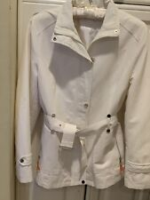 PRADA WHITE COTTON TRENCH COAT JACKET ZIPPER BUTTOM BELTED ITALY SZ S