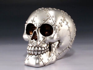 Skull Silver Metal Rivets Figurine Statue Skeleton Halloween
