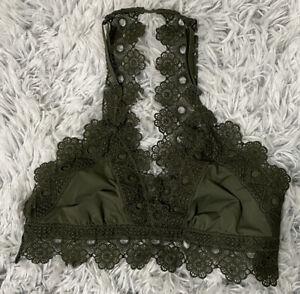 Aerie lace halter bralette bra green size small Adjustable straps
