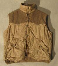 V6838 Sigallo Large Tan Corduroy Reversible Metal Snap Up Vest Pockets Each Side