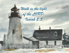 PKG 10 Christian Flat Note Cards with Bible Scripture Verse Isaiah 2:5