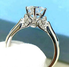 SILVER 1.12 CARAT HEARTS & ARROWS IDEAL CUT SIMULATED MOISSANITE RING SIZE 5.25