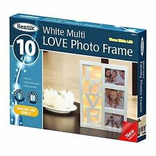 "NUOVO 10 LED Bianco Caldo ""Love"" cornice foto Regalo di Natale San Valentino Home Decor"