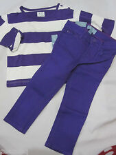 BABY GAP Girls Skinny Fit Purple Jeans & Striped Top Outfit Set Sz 18-24m