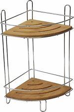 Evideco Free Standing Metal Shower Corner Caddy Bamboo Shelves/Chrome