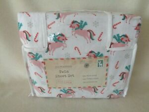Dream Express Holiday Christmas Sheet Set Twin Unicorn Candy Cane Winter Flannel