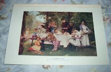 1919 A CHILDREN'S PARTY from painting by Heinrich Schwiering Color Print
