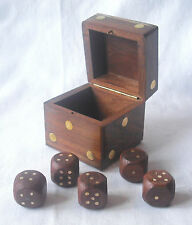 NEW 6 WOODEN DICE IN STORAGE BOX SLIDING LID 6 SIDED DIE BOARD FAMILY GAMES HB