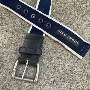 VINTAGE RARE POLO RALPH LAUREN POLO SPORT BLUE RING BELT PATCH LOGO SPELL OUT