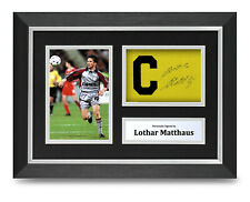 Lothar Matthaus Signed A4 Framed Captain Armband Photo Display Bayern Autograph