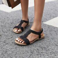 Women Holiday Comfortable T-strap Flats Outdoor Peep Toe Roma Summer Sandals B