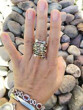 14K White Heavy Gold Multi Sparkle Color Diamond Ring Sz 8