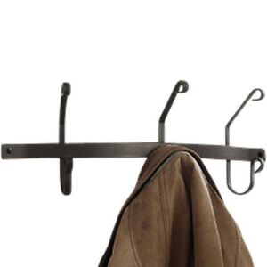 """21"""" or 30"""" Traditional Powder Coated Black Coat & Hat Bars with 3  or 5 Hooks"""