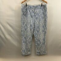Chicos Platinum Womens Blue Casual Ikat Print Cropped Capri Jeans Pants Size 2