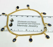 14K Solid Yellow Gold Dangle Bracelet Natural Sapphire 8Inches. 8.51 Grams