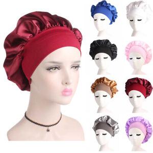 Silk Satin Night Sleep Cap Hair Bonnet Hat Head Cover Elastic Wide Band Wrap UK