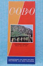 C&O / B&O - Time Table - April 26, 1970