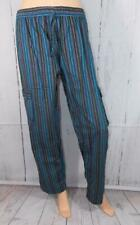 Fair Trade Combat Cargo Trousers Hand Made Blue Hippy Striped Cotton Hippy L