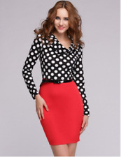 Beautiful Ladies Black White Red Polka Dot AU Size 12 Stretch Pencil Dress-Milly