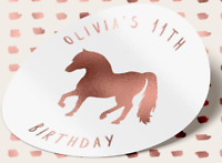 Personalised ROSE GOLD FOILED Pony Birthday Party Sweet Bag Stickers 18TH 21ST