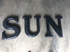 "Vintage 15"" Large Plastic Capital Letter SUN Sign Wall Mount Black"