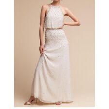 BHLDN Rian Formal Pearl & Bead Halter Maxi Dress Bridal Ivory Size 12