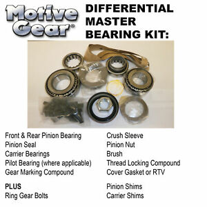 Motive Gear R8.75rlmkt Ring & Pinion Installation Kit Master Kit Chrys 8.75 Late