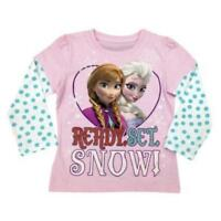 Ready Set SNOW Girls Frozen Long Sleeve T-Shirt Glitter Accents OFFICIAL DISNEY