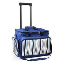 Alfresco 6 Person Picnic Bag Trolley Set Blue Quality Waterproof Fabric Sturdy