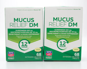 2 Rite Aid Mucus Relief DM 12 Hr 2x68 Extended-Release Tablets EXP 2/21