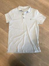 All Saints Men's Sz Small Light Blue Short Sleeve Houston Polo T-shirt Top