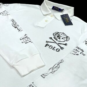Polo Ralph Lauren Long Sleeve Teddy Bear Skull White Polo Shirt LARGE Cotton