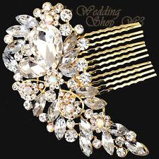 GOLD BRIDAL WEDDING CLEAR DIAMANTE HAIR COMB CLIP SLIDE TIARA FASCINATOR GC01